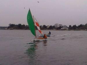 Tim Fallon (green sail) and Richard Feeny reach to the finish, 12/14/13, Sakonnet River.